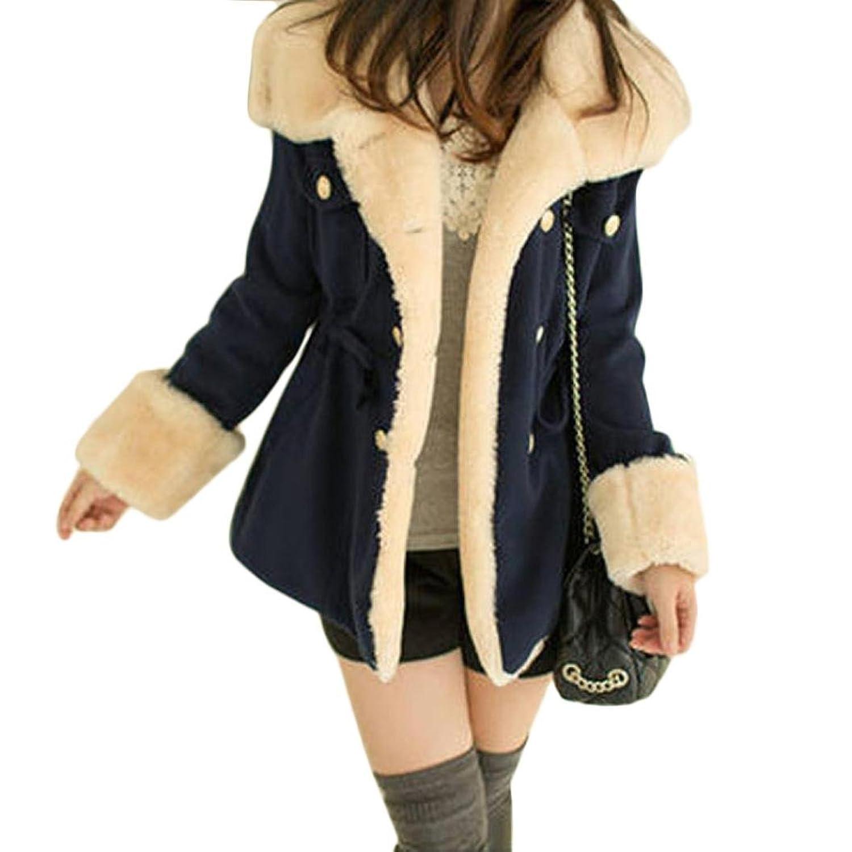 Perman Women Winter Warm Double-Breasted Wool Blend Jacket Coat Outerwear