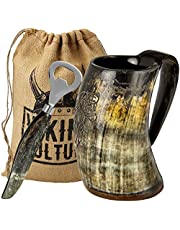 Viking Culture Drinking Horn Mug, Shot Glass, and Bottle Opener (3 Pc. Set) Authentic 16-oz. Ale, Mead, and Beer Tankard | Vintage Stein with Handle Custom Intricate Design