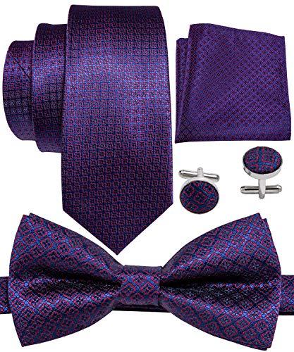Barry.Wang Men Tie Bowtie Set Purple Dot with Handkerchief Cufflinks Novelty Silk Necktie