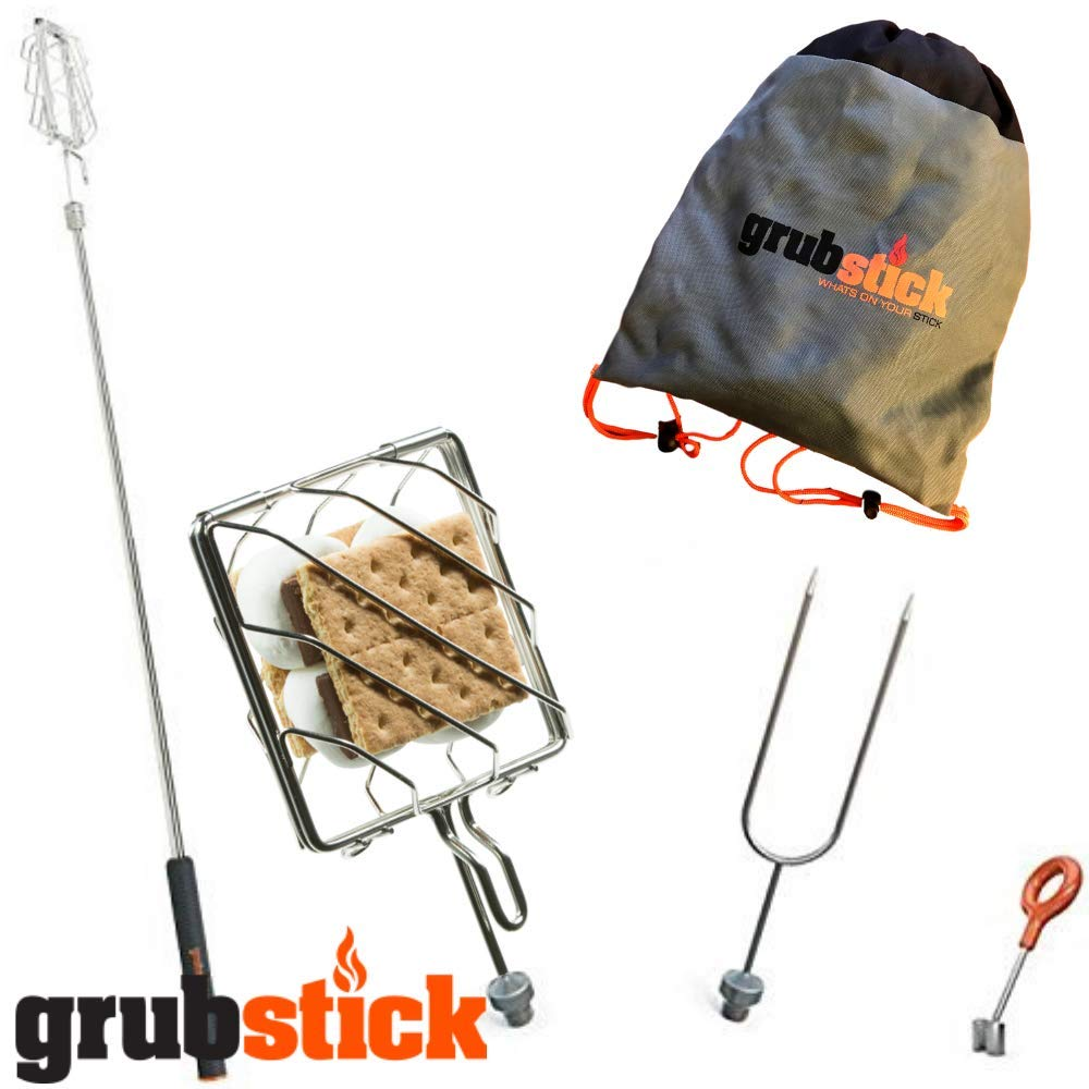 Grubstick- Smores Stick for Fire Pit 4 Piece Smores Kit + Free Bag | Camping Skewers 37'' Telescoping Skewer | Marshmallow Sticks, Hot Dogs, Smores - Heavy Duty Steele Dishwasher Safe by Grubstick