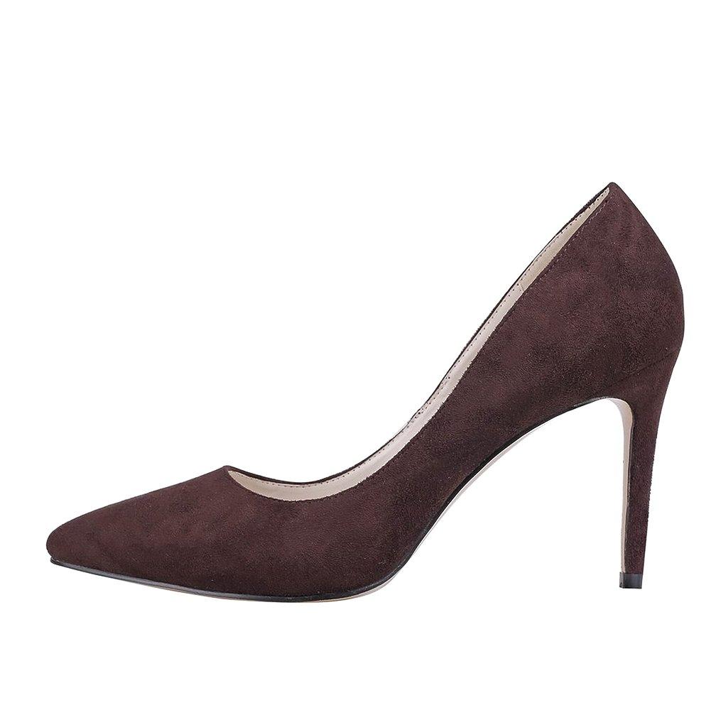 Calaier Mujer Caflower Tacón De Aguja 9CM Sintético Ponerse Zapatos de Tacón 34.5 EU|Marrón