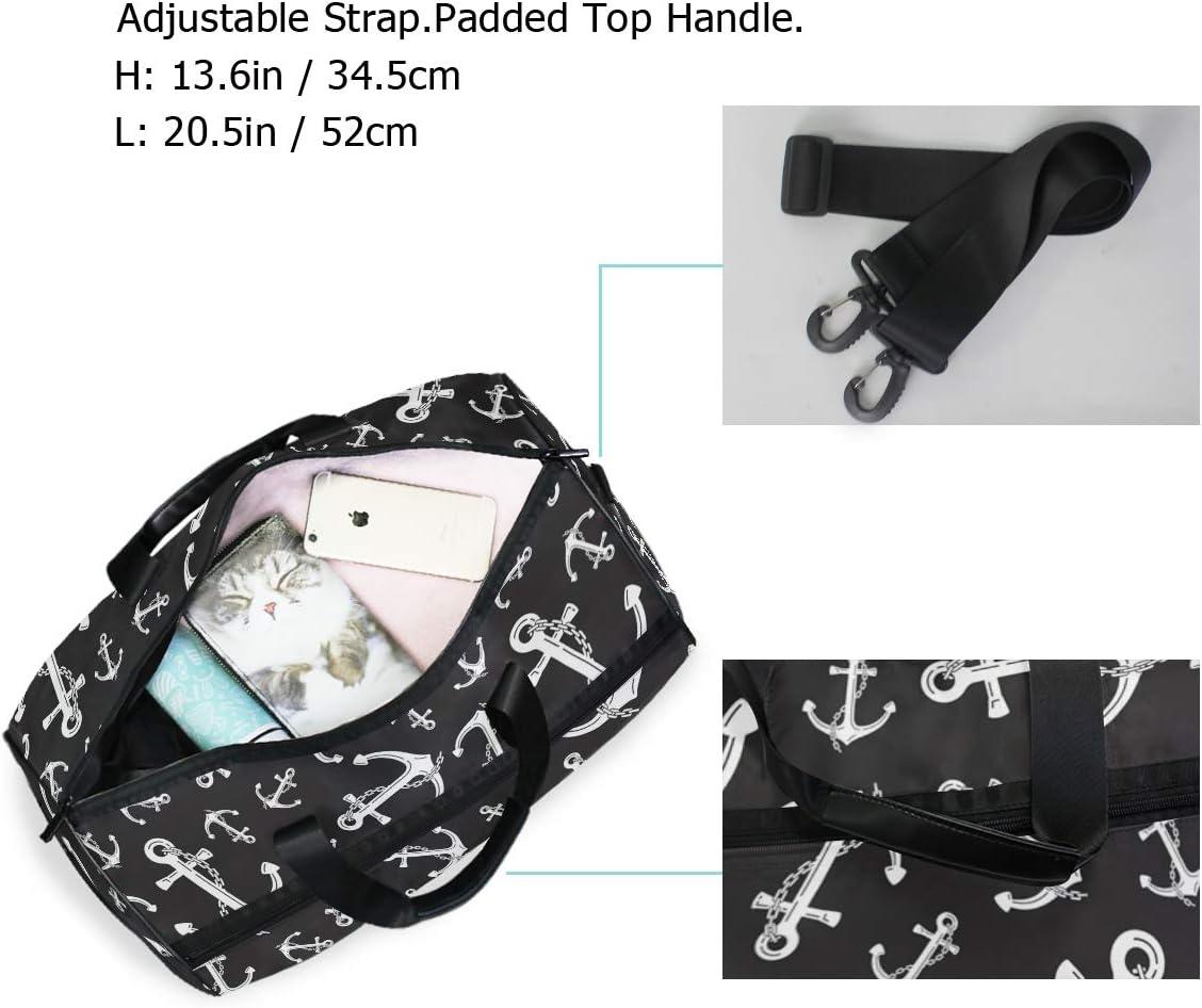 MALPLENA Black And White Anchors Packable Duffle Bag For Men Women Tear Resistant Sports Duffle