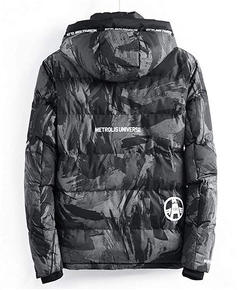 Macondoo Mens Thicken Cargo Hoodid Zip Floral Print Quilted Pocket Jacket Anoraks Parka Coat
