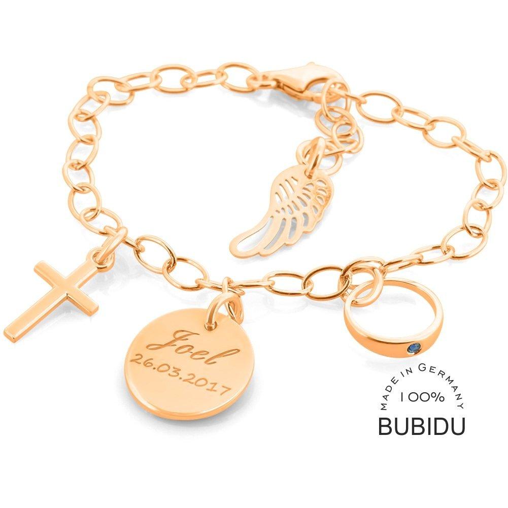 Baby Taufe Armband mit Gravur von Name und Datum Echt Silber 925 Rot Rose gold