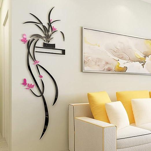 AYXOG 3D Acrílico Orquídea Flor Etiqueta de La Pared Autoadhesiva ...