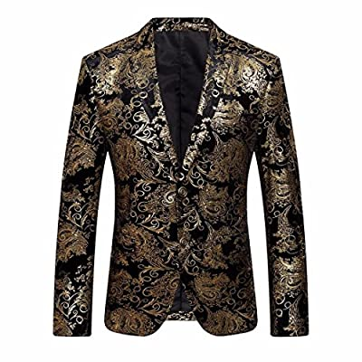 Winsummer Men's Elegant Blazer Slim Fit Two-Button Single Breasted Floral Printed Casual Party Tux Suit Jacket Coat