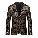 Winsummer Men's Elegant Blazer Slim Fit Two-Button Single Breasted Floral Printed Casual Party Tux Suit Jacket Coat (Gold, L)