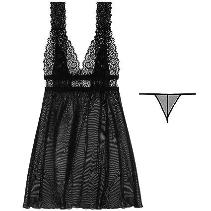 WSAD Retro Deep V Sexy Ropa Interior Transparente De Tirantes De Gasa Falda Corta,Black
