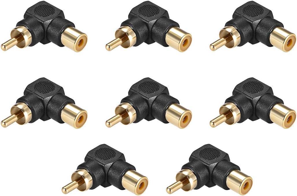 Uxcell Cinch Stecker Auf Buchse 90 Grad Stecker Stereo Audio Videokabel Adapter Kupplung 8 Stück Baumarkt