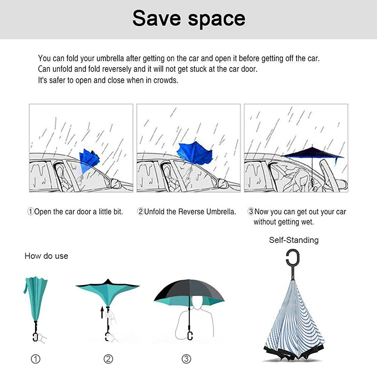 Reverse Umbrella Double Layer Inverted Umbrellas For Car Rain Outdoor With C-Shaped Handle Transformation Concentration Center Ellipse Form Customized