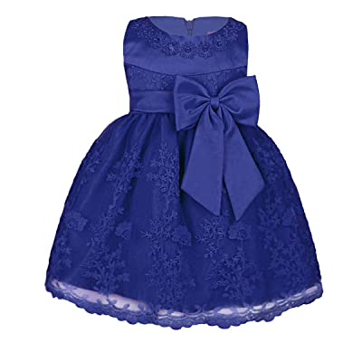 Alvivi Baby Girls' Bowknot Embroidered Christening Baptism Party Dresses Infant Flower Girl Wedding Dress