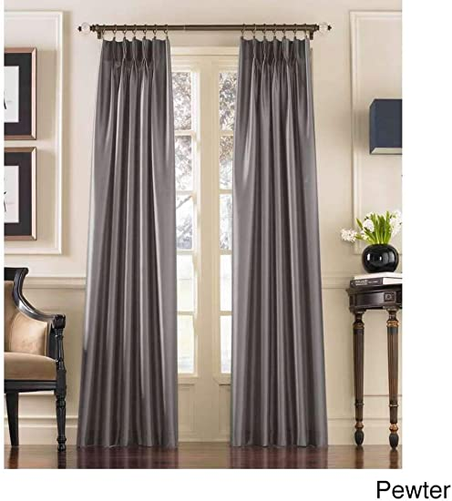 DH 1 Piece 132 Inch Pewter Color Pinch Pleat Curtain Single Panel, Silver Grey Puckered Pintucks Window Pinch Pleated Drapes, Tufted Texture Pattern Solid Color Stylish Modern Pin Tucks, Polyester