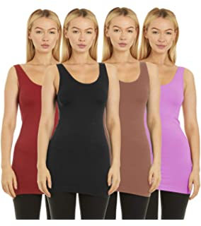 c2ab46a29a596 Unique Styles 4 Pack Layering Tank Tops for Women Camisole Regular and Plus  Size