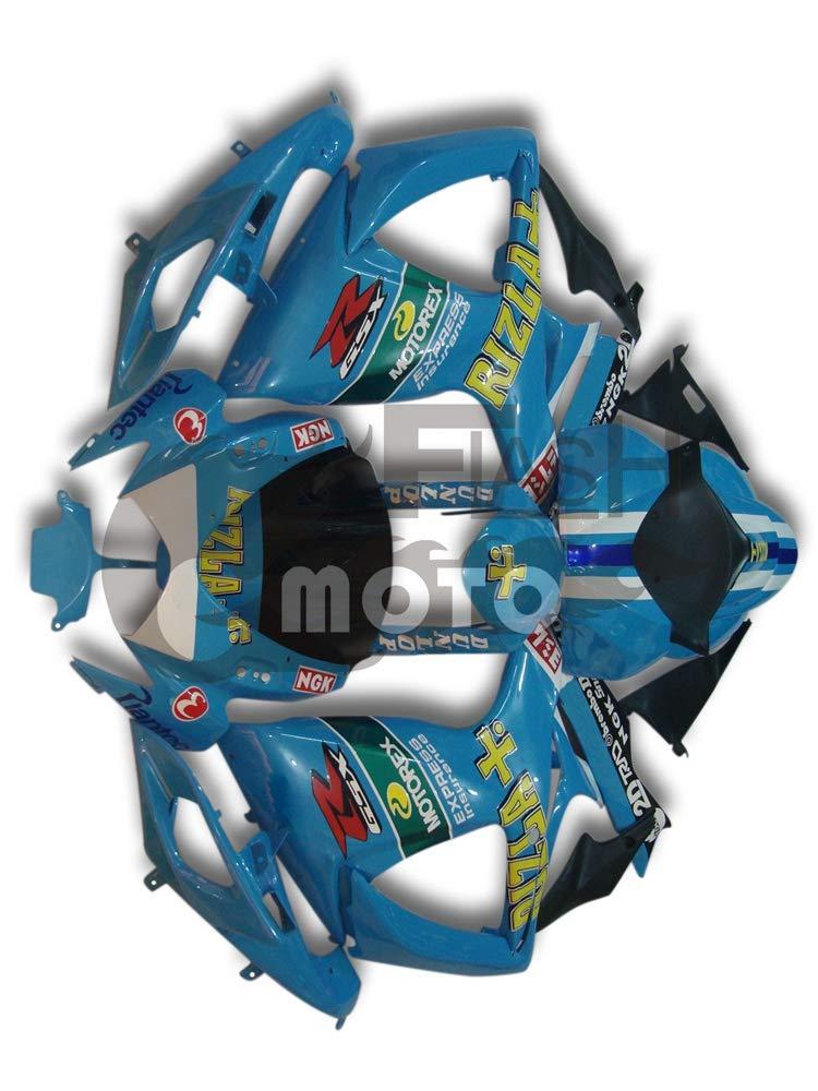 FlashMoto suzuki 鈴木 スズキ GSX-R600 GSX-R750 K6 2006 2007用フェアリング 塗装済 オートバイ用射出成型ABS樹脂ボディワークのフェアリングキットセット ブルー   B07MNJ2FS8