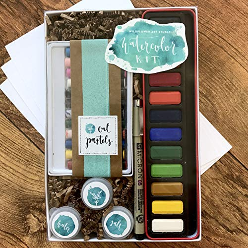 DIY Watercolor Kit for Beginners - Includes Project Guides & Detailed Instructions - Wildflower Art Studio's Signature ''Watercolor Class in a Box'' by Wildflower Art Studio