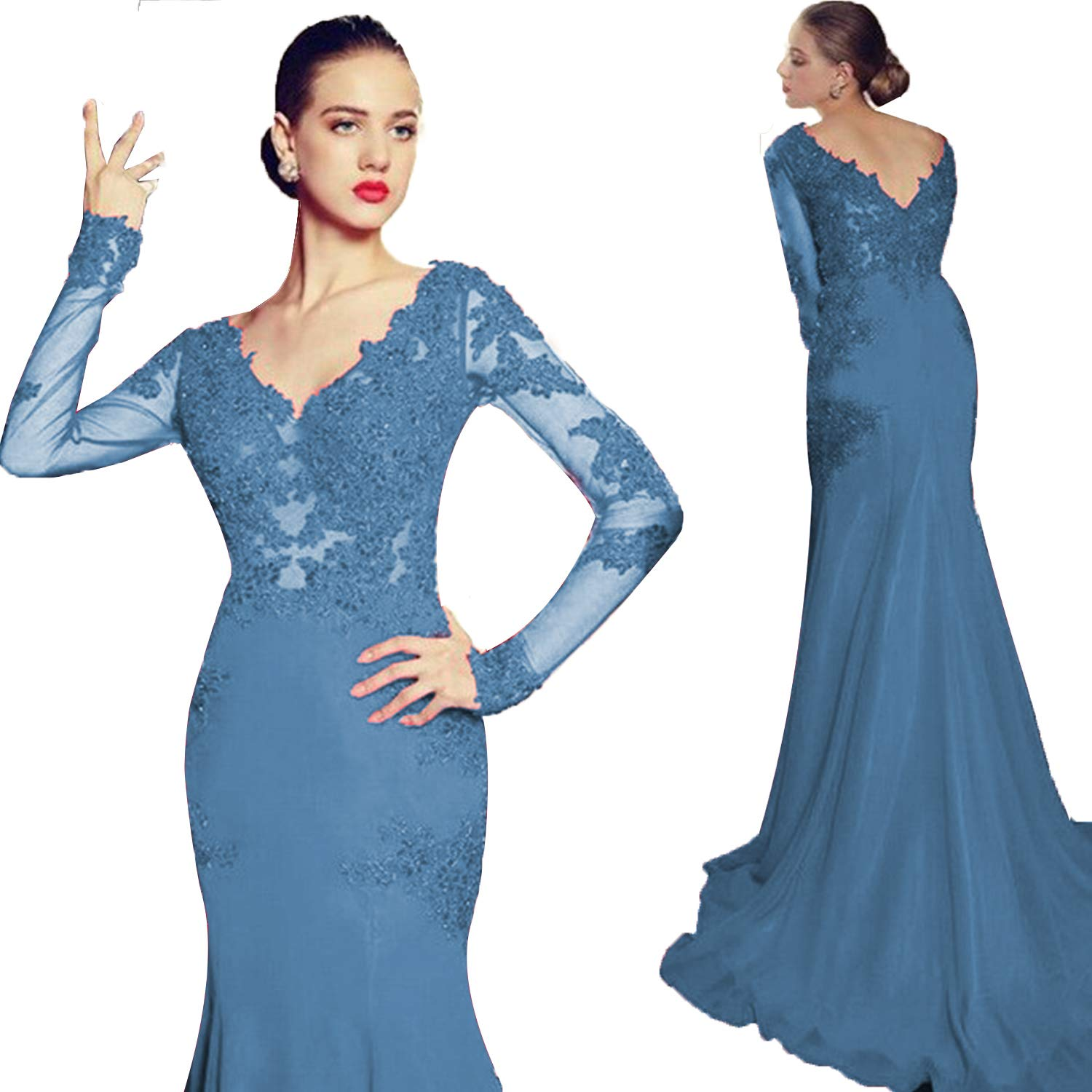 bluee Promworld Women's Double V Neck Lace Applique Mermaid Prom Dress Illusion Formal Evening Gown with Sleeve with Sleeve