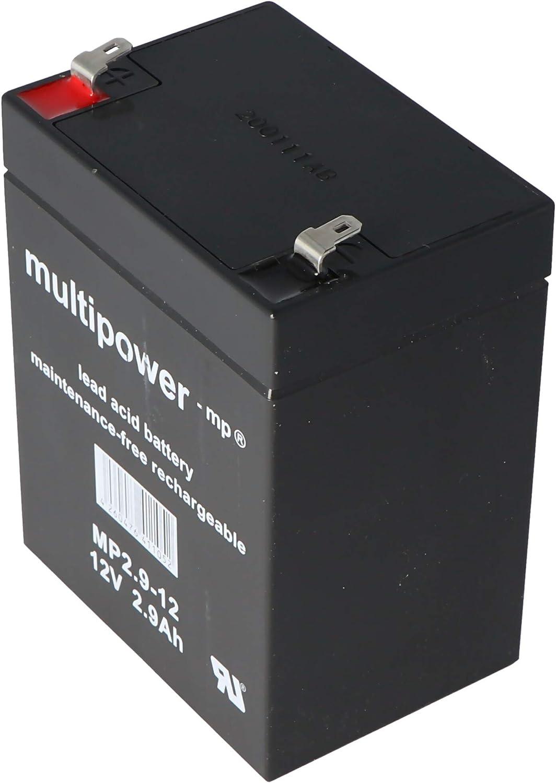 MultiPower MP2.9-12 MP2.9-12 - Batería de plomo (12 V, 2,9 Ah, Pb Faston, 4,8 mm, sin autorización VdS)