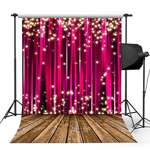 Kooer 5x7ft Pink Cherry Curtain Wall Photography Backdrops Shining Stars Photography Backgrounds Photo Studio Prop Baby Children Family Photoshoot Backdrop Customized Various (Halloween Photo Booth Design)