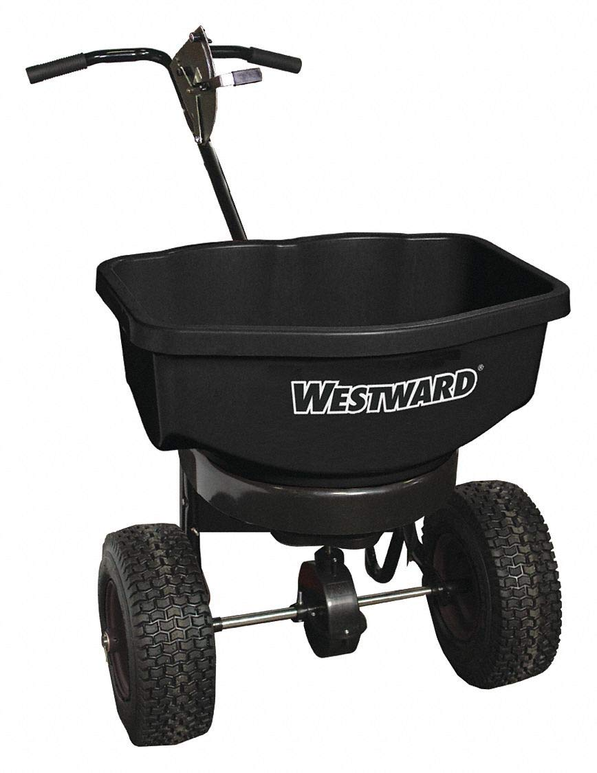 Broadcast Spreader, 100 lb. Capacity, Pneumatic Wheel Type, High Output Drop Type, Adjustable T Hand by WESTWARD