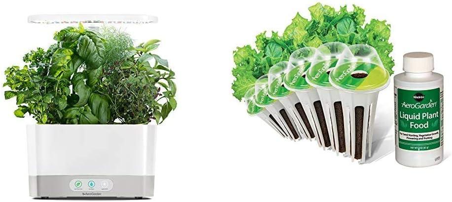 AeroGarden Harvest-White Indoor Hydroponic Garden & Salad Greens Mix Seed Pod Kit, 6