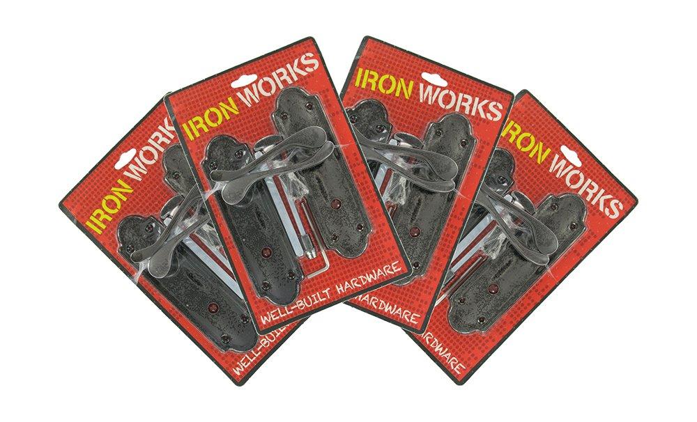 IRON WORKS 0200 6-Inch Black Nickel Finish Ashford Style Bathroom Door Handles (4 Pair)