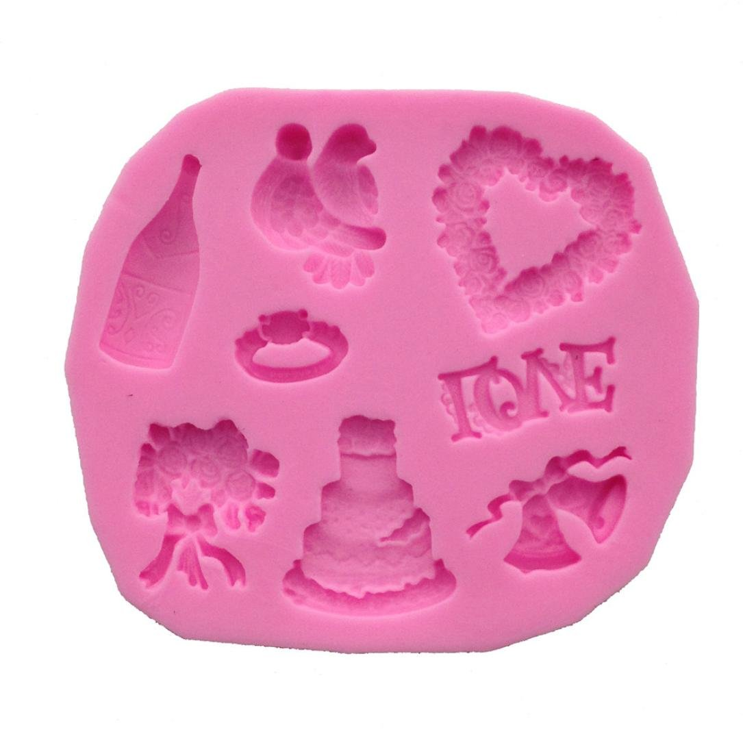 Molyveva Wedding Silicone Sugar Chocolate Mold Mould Cake Fondant DIY Cooking Tool 8.5*7.4cm Old Tree Store