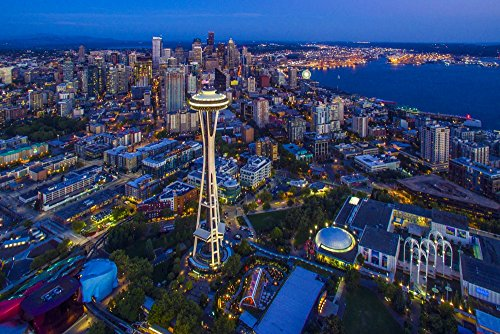Aerial view of Skyline with Space Needle in Seattle King County Washington State USA Poster Print by Panoramic Images (24 x 18) from Posterazzi