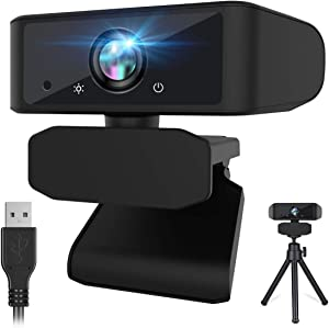 1080p HD Webcam with Microphone Zoom Webcam for Home Working Video Conference Online Classes, USB Computer Webcam Camera with Free Tripod for Mac Windows Linux, Streaming Webcam for Xbox One Skype