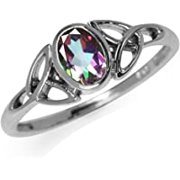 Mystic Fire Topaz 925 Sterling Silver Triquetra Celtic Knot Ring