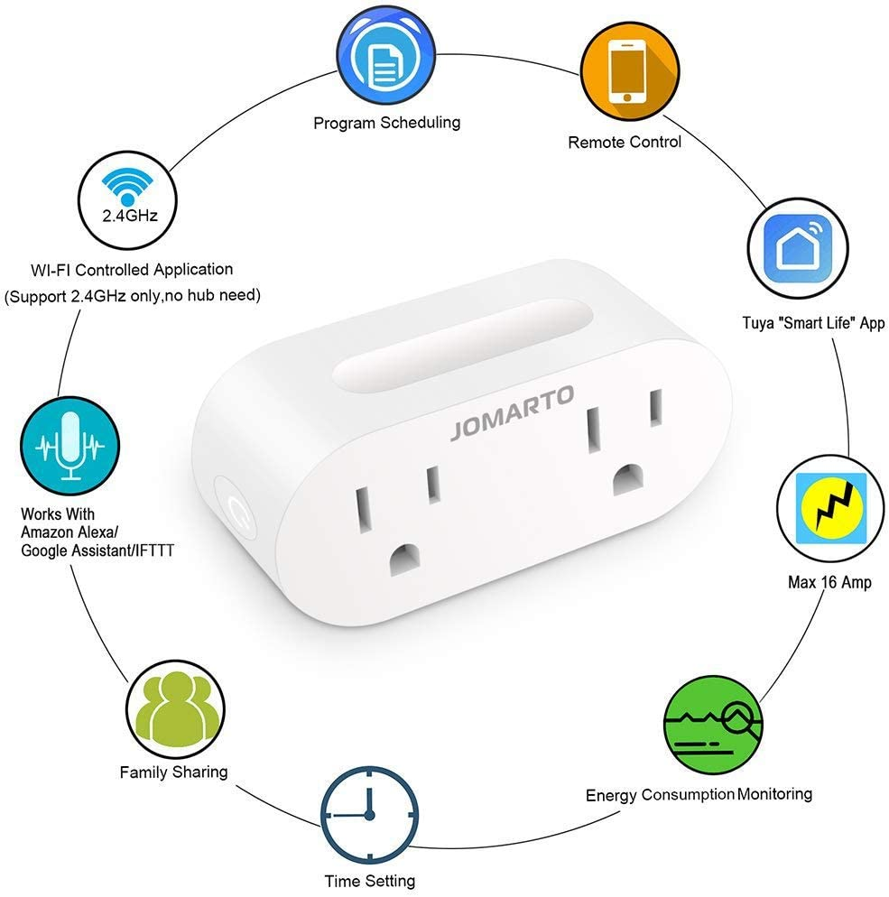 WiFi Smart Plug Outlet, 2 Pack Mini Smart Socket Compatible with Alexa, Google Home and IFTTT, APP Remote Control and Timer Function No Hub Required ...
