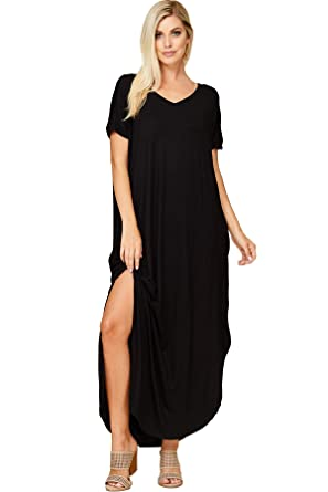92a37e5eebc0 Annabelle Women's Casual V Neck Short Sleeve Side Split Maxi Dresses with  Pockets Small Black D5210