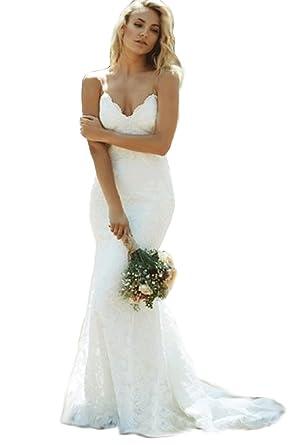 ed6def8d10 Modeldress Womens Mermaid Lace Spaghetti straps Beach Wedding Dresses Bridal  MaxiA-IvoryUS2