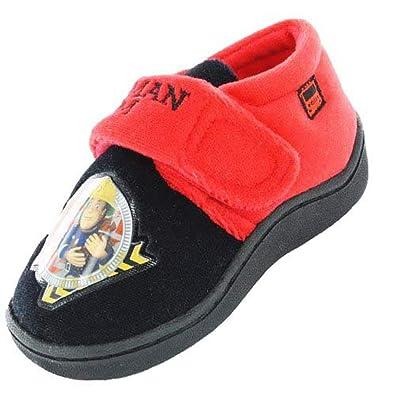 722f17eae44 Boys Kids Fireman Sam Jupiter Hard Sole Velcro Slippers in Black Red (UK 4