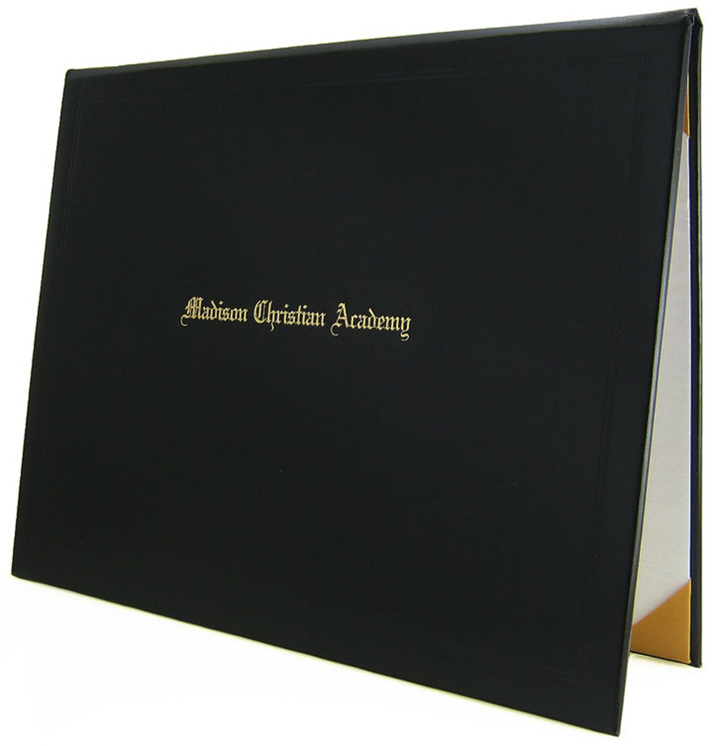 8.5 x 11 Padded Diploma Cover with 1 Line of Custom Text (Black)