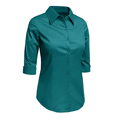 17449c2c287 LE3NO Womens Plus Size Roll Up 3 4 Sleeve Button Down Shirt with Stretch
