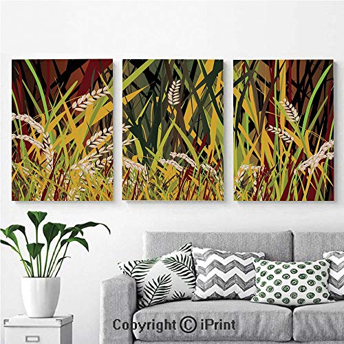 Modern Gallery Wrapped Canvas Print Reeds Dried Leaves Wheat River Wild Plant Forest Farm Country Life Art Print Image 3 Panels Pictures on Canvas Wall Art Ready to Hang for Living Room Kitchen Home