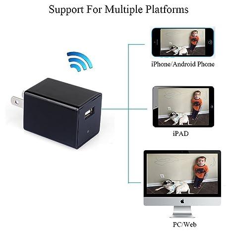 Electro-Weideworld Full HD 1080P Inalámbrica P2P WiFi Cámara Espía Adaptador de Corriente para Interiores
