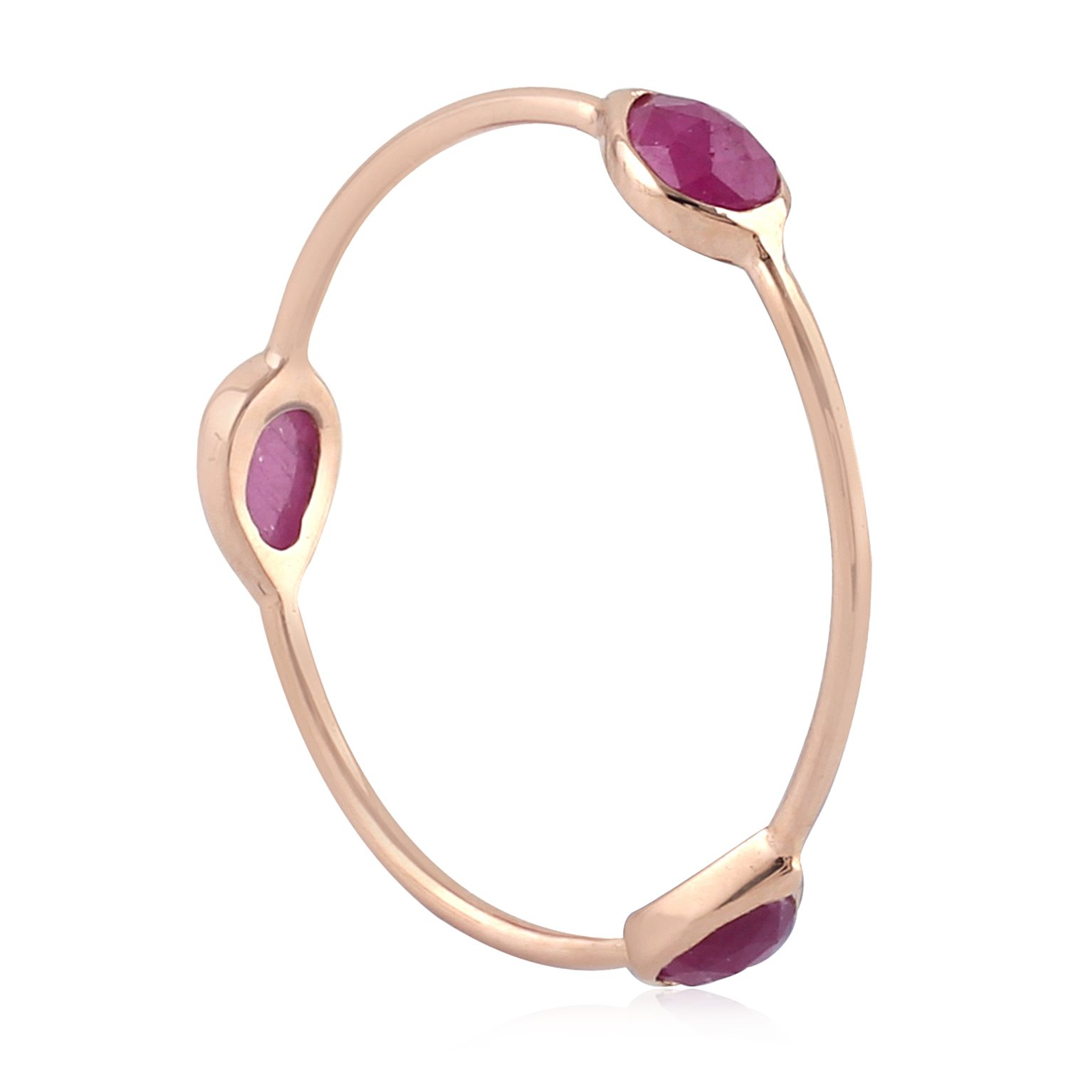 18K Solid Rose Gold Natural Ruby 3 Stone Ring, Size 7