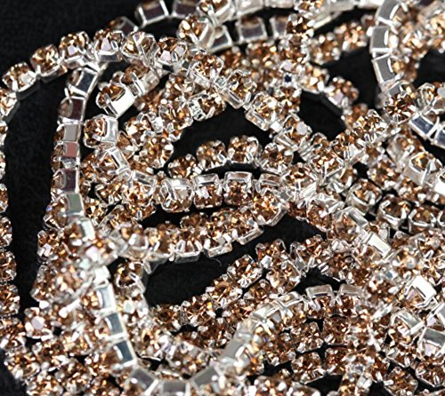 10Yard Light TopazRhinestones Chain for Crafts-Rhinestones Chains for Clothes-Sewing Supplies and Accessories-Rhinestone Chain for Jewelry Making-Rhinestone Close Chain Clear Trim Sewing (SS10-2.8mm)