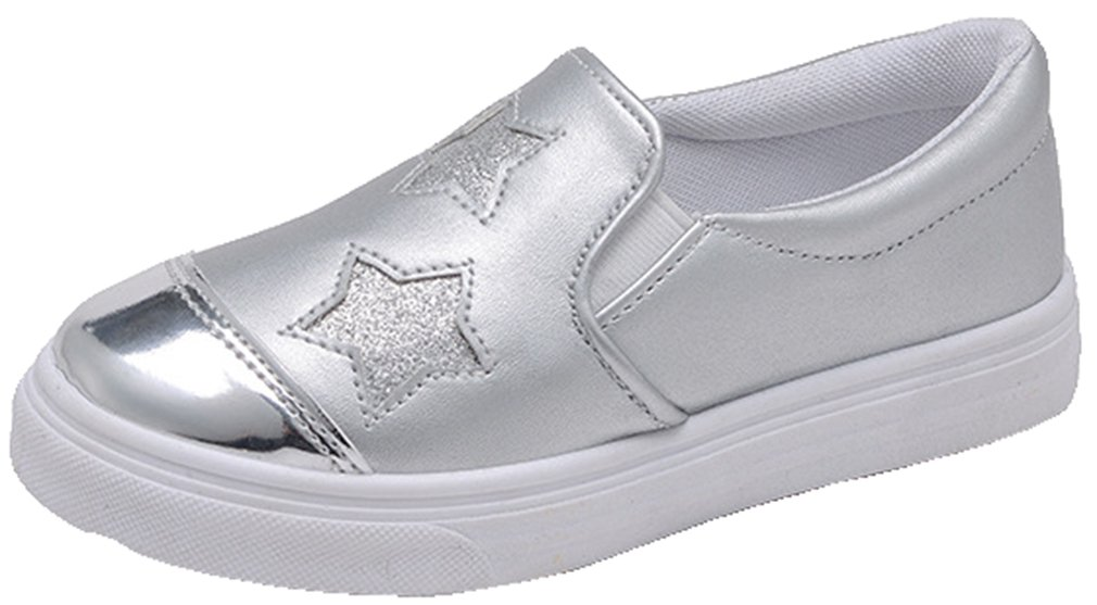 VECJUNIA Girl's Casual Flat Sneakers PU Cap Toe Low Top Slip On Shoes with Stars (Silver, 4 M US Big Kid)