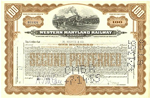 1917 SUPERB WESTERN MARYLAND RAILWAY STOCK ENGRAVED 1917 (ISSUE DATE 1930's-50's) OUR EXCLUSIVE! RARE! CV $125 100 SHARES Crisp About Uncirculated