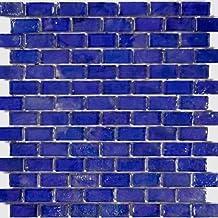 """Cobalt Blue Textured Iridescent Glass Tile Blend 1"""" x 2"""""""