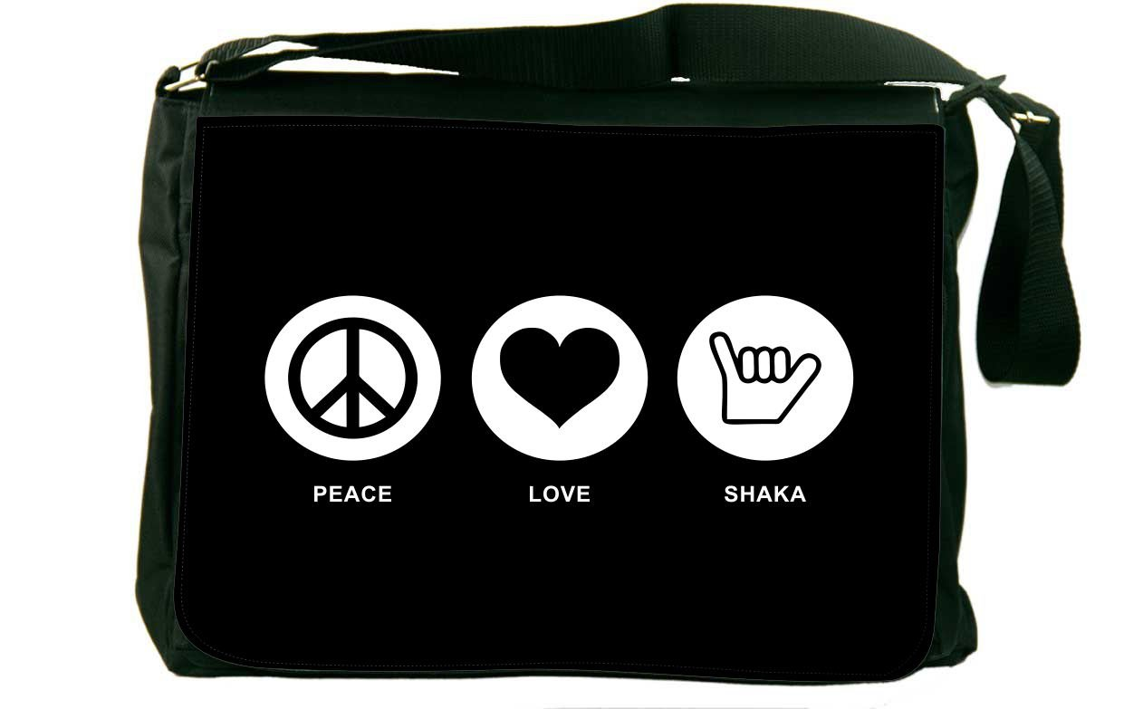 Rikki Knight Peace Love Shaka Black Color Messenger Bag School Bag