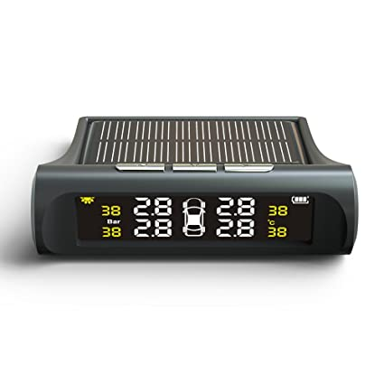 TUTUO TPMS Sistema de Monitoreo de Presión de Neumáticos Universal Energía Solar LCD Monitor Tiempo Real Medidor de Presión y Temperatura de los ...