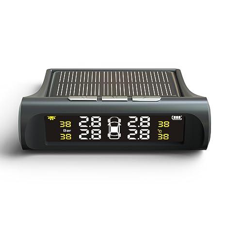 TUTUO TPMS Sistema de Monitoreo de Presión de Neumáticos Universal Energía Solar LCD Monitor Tiempo Real