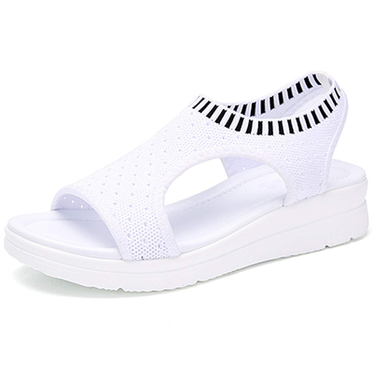 White Zeuow Fashion Women Sandals Breathable Comfort Shopping Ladies Walking shoes Summer Platform Black Sandal