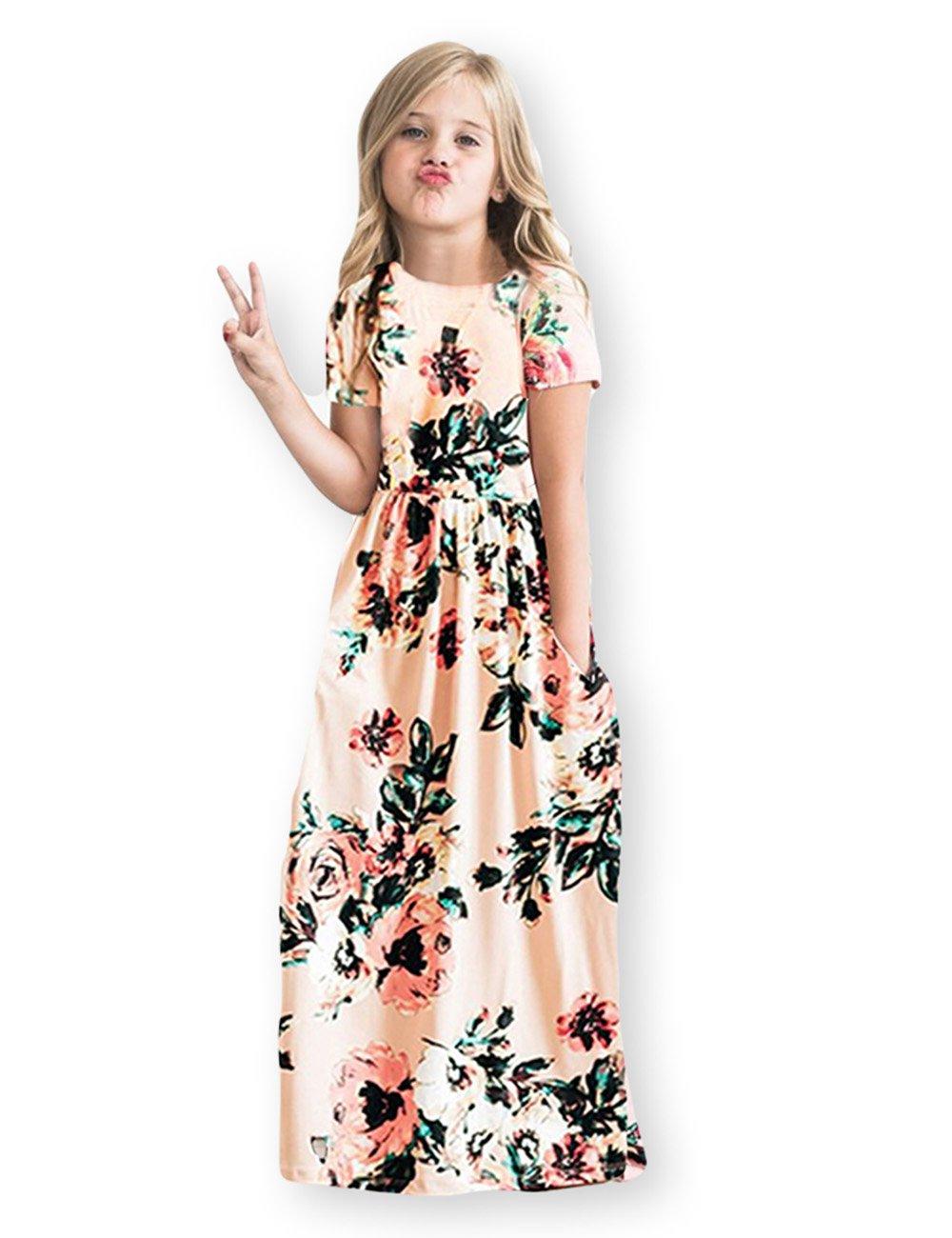 4776b4e41 Galleon - Kids Floral Maxi Dress Girls Summer Casual Pocket Long T-Shirt  Short Sleeve For Kids 6-12