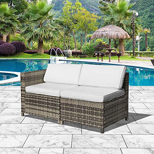 Orange-Casual Armless Chair& Corner Chair, Outdoor Patio Furniture All Weather Grey Rattan Wicker Sectional Sofa, White Removable Cushions