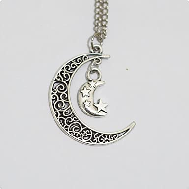 Moon and star necklace silver moon star necklace amazon moon and star necklace silver moon star necklace aloadofball Choice Image