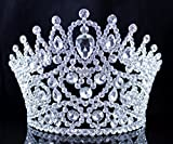 Janefashions SEXY BEAUTY QUEEN CRYSTAL RHINESTONE TIARA CROWN HAIR COMBS PAGEANT T2178 SILVER